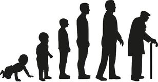 Life cycle evolution - from baby to old man. Vector Stock Photography