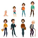 Life Cycle Of Men. Including infant, child, teen, young and mature age, old person isolated vector illustration Royalty Free Stock Images