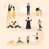 Life cycle vector illustration with flat design concept. Included people at different ages, growing kid, happy teen, golden age an vector illustration