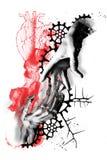 Digital art trash polka grunge life dead heart. Life dead Abstract digital art face trash polka grunge color smudge ink tattoo stock illustration