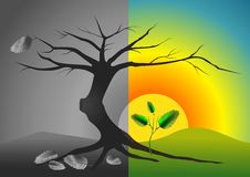 Life and death. Destruction and the birth of a new life stock illustration