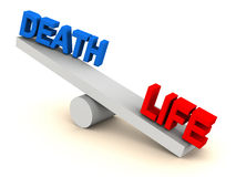 Life death balance. Life on one side and death on another, weight scale with text in red and blue, white background royalty free illustration