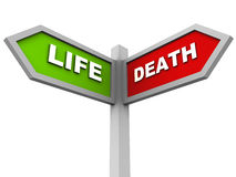 Life and death. Life on one side and death on another, road side banner with text in red and green, white background vector illustration