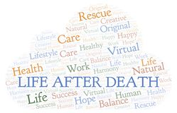 Life After Death word cloud. Wordcloud made with text only stock illustration
