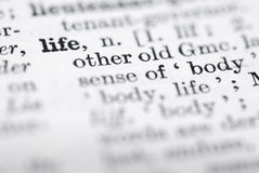 Life; Definition in English Dictionary. Stock Image