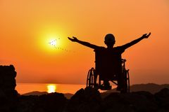 Happy, hopeful and moral person. Life of a disabled person with a positive life royalty free stock image