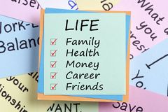 Life family health money career and friends concept Stock Photo