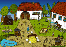 Life on the farm. Highly detailed vector illustration of farm life Royalty Free Stock Images