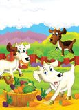 The life on the farm - illustration for the children Royalty Free Stock Photo