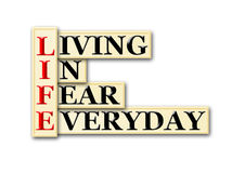 Life fear. Acronym concept of Life and other releated words royalty free illustration