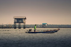 Life of Fisherman in Bang Ta Boon bay Stock Images