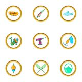 Life of fisherman icon set, cartoon style Stock Image