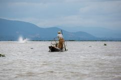 Life of fisherman at river side in Inle lake, Shan state, Myanmar royalty free stock image