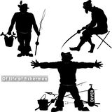 Of life of fishermen. Silhouettes of fishermen on a transparent background in different situations Stock Image