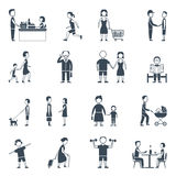 Daily Life Flat Icon Set. Human daily life work walk communication and relationship flat silhouette icon set isolated vector illustration Stock Image