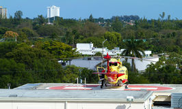 Life Flight helicopter on the helipad of Broward Health Hospital. FORT LAUDERDALE , FL, USA - January 20, 2015:  Miami Children's Hospital Life Flight helicopter Stock Photos