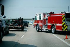 Life Flight Rescue 2. A life flight rescue taking place on I35 in Texas (helicopter, firetruck, fireman Royalty Free Stock Images
