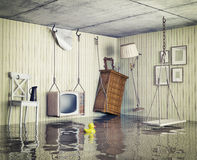 Life in the flooded flat. Ordinary life in the flooded flat. 3d concept Stock Images