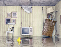 Life in the flooded flat. Ordinary life in the flooded flat. 3d concept Stock Image