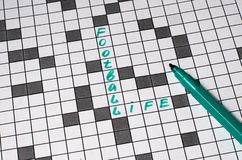 Life football. Text in crossword. Green letters royalty free stock photography
