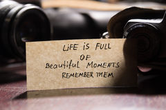 Life is full of beautiful moments - remember them Stock Photos