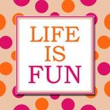 Life Is Fun Pink Orange White Square Stock Images
