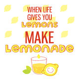 When life gives you lemons, make lemonade. Motivational quote printable poster with hand drawn lettering. Royalty Free Stock Image