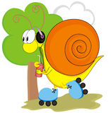 Life is good. Funny snail listen music.Vector illustration Stock Images