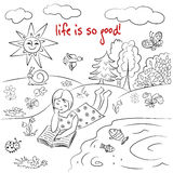 Life is so Good. Hand drawn sketch. Had drawn illustration with girl. Decorative background royalty free illustration