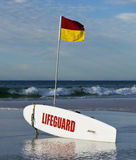 Life Guard. Australian Surf Life Saving lifeguard board on surfing beach in the Gold Coast in portrait format Stock Photo