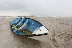 Life guard boat on Nickerson Beach, NY Royalty Free Stock Images