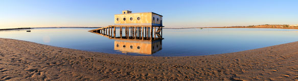 Life-guard building in Fuseta, at Ria Formosa Park Stock Photos