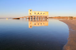 Life-guard building in Fuseta, at Ria Formosa Park Stock Image