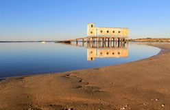 Life-guard building in Fuseta, at Ria Formosa Park Royalty Free Stock Images