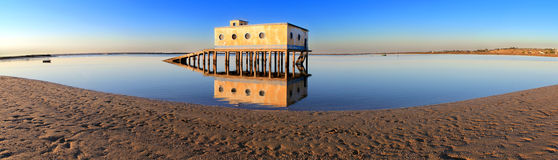 Life-guard building in Fuseta, at Ria Formosa Park Royalty Free Stock Photo