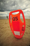 Life guard can at stormy beach Stock Photo
