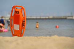 Life guard can at sunny beach Royalty Free Stock Image