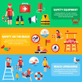 Life Guard Flat Banners Set. Beach lifeguards station service and safety equipment information 3 flat horizontal banners set abstract  vector illustration Stock Photography
