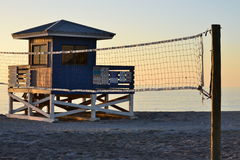 Life Guard Hut with Volley Ball Net. A life guard hut at Venice Beach Fl. with volley ball net in view Royalty Free Stock Photo