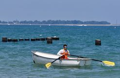 Life Guard on Lake Michigan. This is a Summer picture of a life guard on duty at iconic North Avenue Beach on Lake Michigan located in Chicago, Illinois in Cook Stock Images