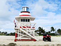 Life guard post. On the beach in Miami Beach, Florida, USA Stock Photos
