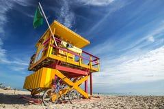Life Guard Post. South Beach, Miami, Florida, USA lifeguard post Stock Photos
