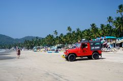 Life guard red car at beautiful Palolem beach,Goa,India Stock Photography