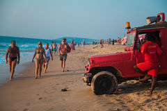 Life guard red car Royalty Free Stock Images