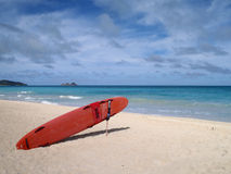 Life Guard Rescue Surfboard sits Beach Royalty Free Stock Photography