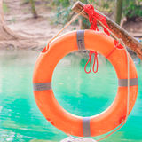 Life Guard ring with rope on Brunch Royalty Free Stock Image