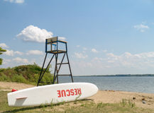 Life guard Stand with Rescue Surf board Stock Photography