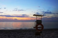 Life Guard Stand and sunset stock photography
