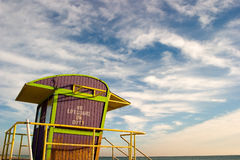 Life guard station. A colorfully painted lifeguard station on the beach royalty free stock photo