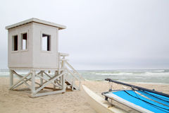 Life guard station on beach background Royalty Free Stock Photography